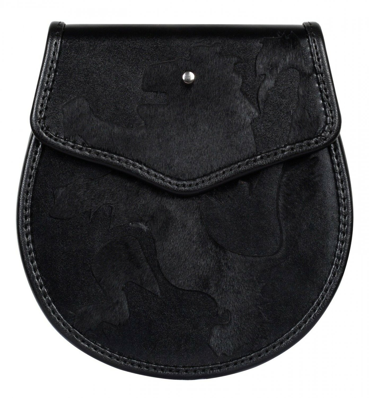 Rampant Lion Theme Scottish Semi Dress Black Leather Sporran And Chain Belt