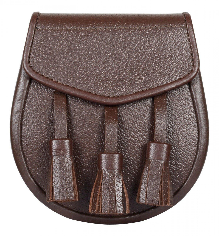 Premium Hand Made Brown Leather Semi Dress Sporran With Chain Belt