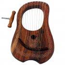 Premium Handmade New Rose Wood Lyre Harp 10 Metal Strings and Free Carrying Bag & Tuning Key