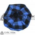 New Handmade Scottish Tam o' shanter Flat Bonnet Hat / Tammie Cap In Clan Tartan Blue Rob Roy