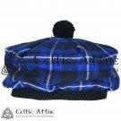 New Handmade Scottish Tam o' shanter Flat Bonnet Hat / Tammie Cap In Clan Tartan Ramsey Blue
