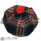 New Handmade Scottish Tam o' shanter Flat Bonnet Hat / Tammie Cap In Clan Tartan Black stewart