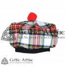 New Handmade Scottish Tam o' shanter Flat Bonnet Hat / Tammie Cap In Clan Tartan Dress Stewart