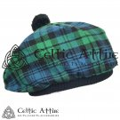 New Handmade Scottish Tam o' shanter Flat Bonnet Hat / Tammie Cap In Clan Tartan Campbell Ancient