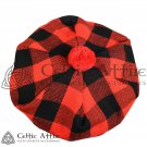 New Handmade Scottish Tam o' shanter Flat Bonnet Hat / Tammie Cap In Clan Tartan Red Black Rob roy
