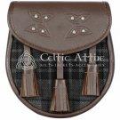 Premium - Brown Leather - Grey Watch Tartan - Scottish DAY SPORRAN