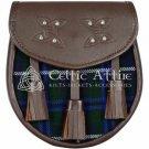 Premium - Brown Leather - Blue Douglas Tartan - Scottish DAY SPORRAN