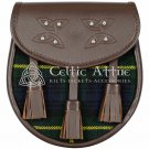 Handmade Premium - Brown Leather - Clan Gordon Tartan - Scottish DAY SPORRAN