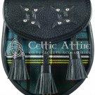 Premium - Black Leather -Clan Anderson - Scottish DAY SPORRAN