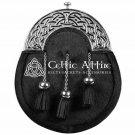 Premium - Handmade - Traditional Scottish Full Dress Sporran - Black Bovine Fur