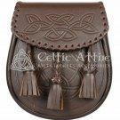 New Handmade Brown Leather Scottish Kilt Sporran - Celtic Knot Pattern Embossing