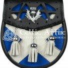 Scottish Semi Dress Premium HANDMADE Leather SPORRAN - Scottish Flag Pattern