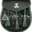 Scottish Clan Semi Dress Black and Tree Green Endings Leather Shamrock Sporran