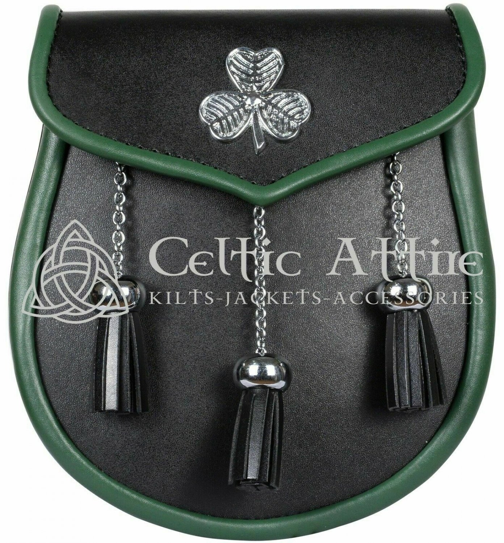 Premium Handmade - Irish KILT SPORRAN - St. Patrick Theme Sporran and Free Belt