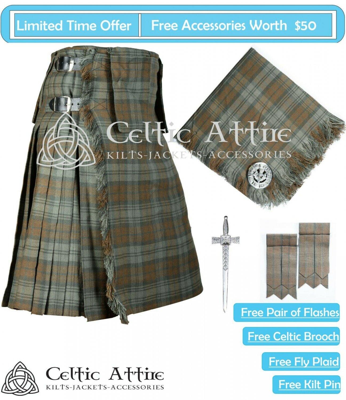 Premium -Black Watch Weathered- Scottish 8 Yard Tartan Kilt and Accessories 44 waist