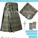 Premium -Black Watch Weathered- Scottish 8 Yard Tartan Kilt and Accessories 50 waist