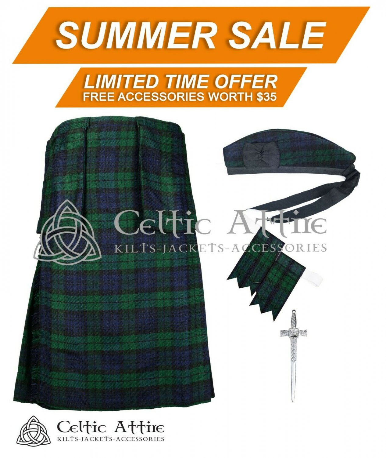 Premium - Black Watch Fabric 16 Oz - Scottish 8 Yard Tartan Kilt and Accessories 40 waist