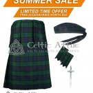 Premium - Black Watch Fabric 16 Oz - Scottish 8 Yard Tartan Kilt and Accessories 42 waist