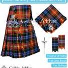 Premium -LGBTQ 16 Oz- Scottish 8 Yard Tartan Kilt and Accessories 30 waist