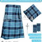 Premium -US NAVY FABRIC 16 Oz- Scottish 8 Yard Tartan Kilt and Accessories 32 waist