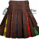 Brown Cotton & LGBT Pride Tartan - Hybrid UTILITY KILT For Men 44 waist