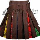 Brown Cotton & LGBT Pride Tartan - Hybrid UTILITY KILT For Men 46 waist