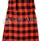 Scottish 8 Yard TARTAN KILT - 16 Oz Acrylic Fabric - Red & Black Rob Roy 30 waist