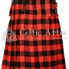 Scottish 8 Yard TARTAN KILT - 16 Oz Acrylic Fabric - Red & Black Rob Roy 34 waist