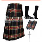 36 Black Stewart  Tartan Scottish 8 Yard TARTAN KILT Package