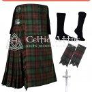 Brown Watch Tartan Scottish 8 Yard TARTAN KILT Package Flashes Kilt Pin Socks