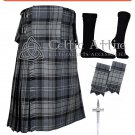 32 Hamilton Grey Tartan Scottish 8 Yard TARTAN KILT Package