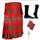 48 Royal Stewart Tartan Scottish 8 Yard TARTAN KILT Package