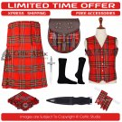 34 Royal Stewart Scottish Traditional Tartan Kilt With Free Shipping and 9 Accessories