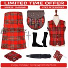 50 Royal Stewart Scottish Traditional Tartan Kilt With Free Shipping and 9 Accessories