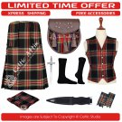 30 Black Stewart Scottish Traditional Tartan Kilt With Free Shipping and 9 Accessories