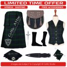 50 Black Watch Scottish Traditional Tartan Kilt With Free Shipping and 9 Accessories