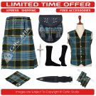 34 Anderson Scottish Traditional Tartan Kilt With Free Shipping and 9 Accessories