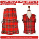42 Waist Scottish 8 Yard Kit with 3 Detachable Pocket – Free Matching Vest - Royal Stewart Tartan