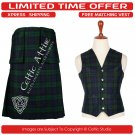 32 Waist Scottish 8 Yard Kit with 3 Detachable Pocket – Free Matching Vest - Black Watch Tartan