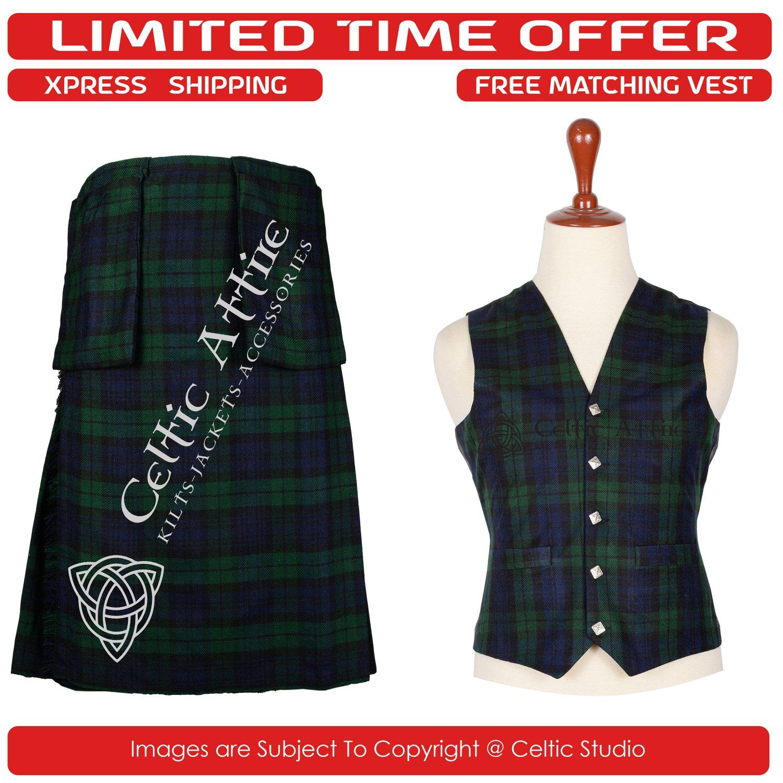46 Waist Scottish 8 Yard Kit with 3 Detachable Pocket � Free Matching Vest - Black Watch Tartan