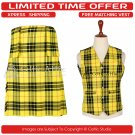 30 Waist Scottish 8 Yard Kit with 3 Detachable Pocket Free Matching Vest - Macleod of Lewis Tartan