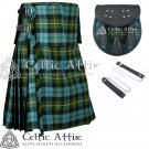 "44"" Gunn Ancient Tartan Scottish 8 Yard Detachable Pockets Kilt With Free Matching Sporran Kilt"