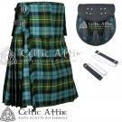 "50"" Gunn Ancient Tartan Scottish 8 Yard Detachable Pockets Kilt With Free Matching Sporran Kilt"