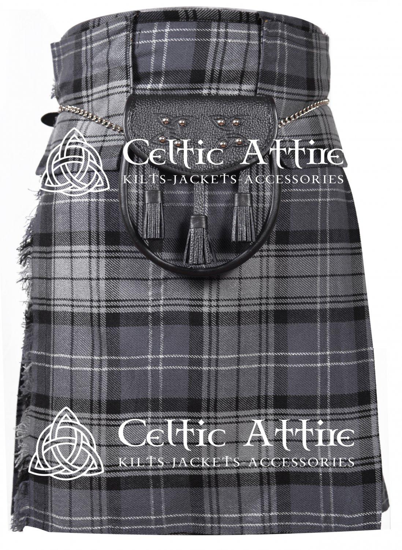 "32"" Hamilton Grey Tartan Scottish 8 Yard Detachable Pockets Kilt With Free Matching Sporran Kilt"