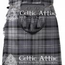 "50"" Hamilton Grey Tartan Scottish 8 Yard Detachable Pockets Kilt With Free Matching Sporran Kilt"