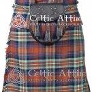 "30"" Irn Bru Tartan Kilt Scottish 8 Yard Detachable Pockets Kilt With Free Matching Sporran kilt"