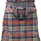 "34"" Irn Bru Tartan Kilt Scottish 8 Yard Detachable Pockets Kilt With Free Matching Sporran kilt"