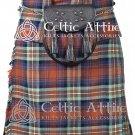 "44"" Irn Bru Tartan Kilt Scottish 8 Yard Detachable Pockets Kilt With Free Matching Sporran kilt"
