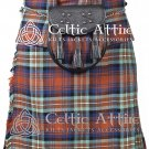 "46"" Irn Bru Tartan Kilt Scottish 8 Yard Detachable Pockets Kilt With Free Matching Sporran kilt"