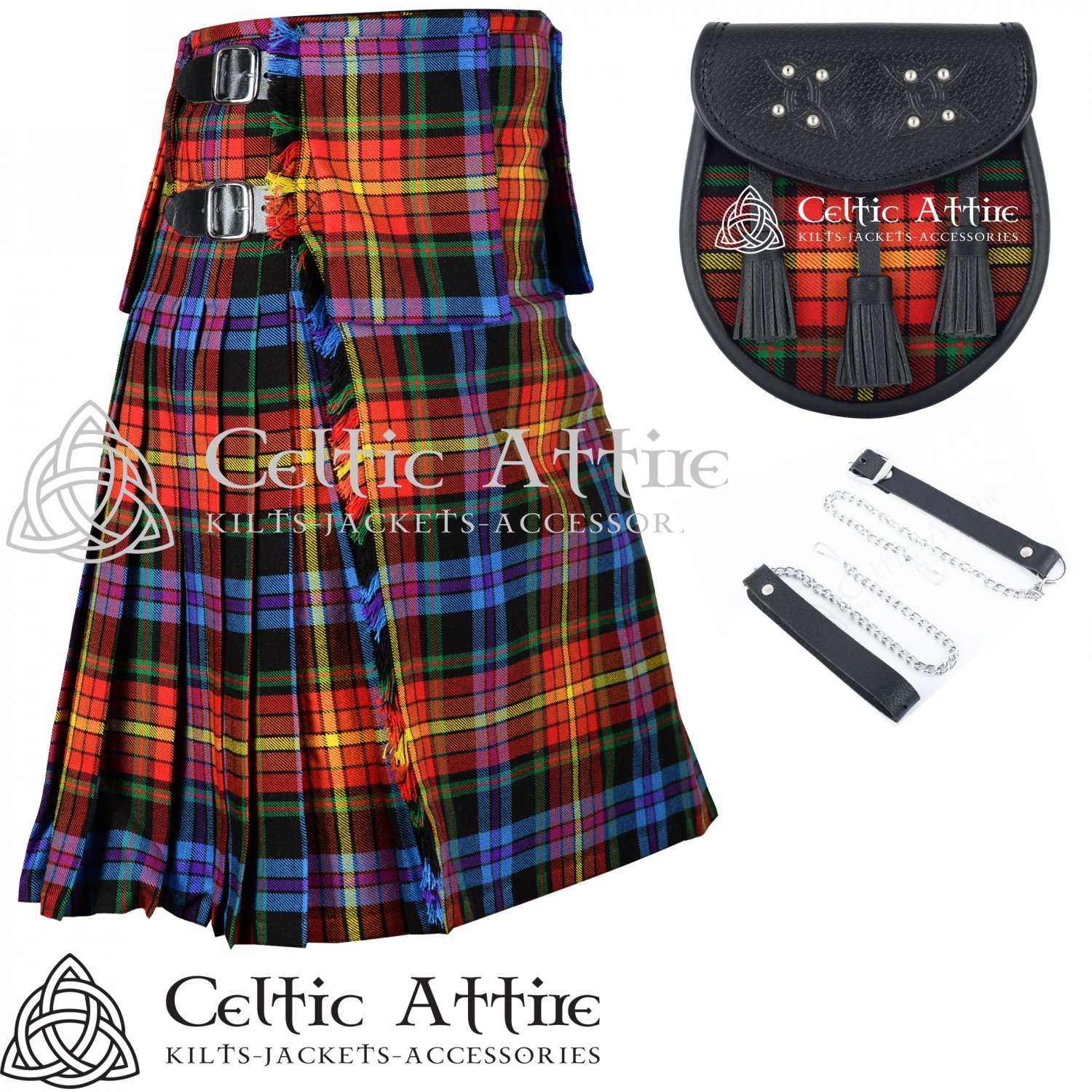 "32"" LGBTQ Pride Tartan Kilt Scottish 8 Yard Detachable Pockets Kilt With Free Matching Sporran kilt"